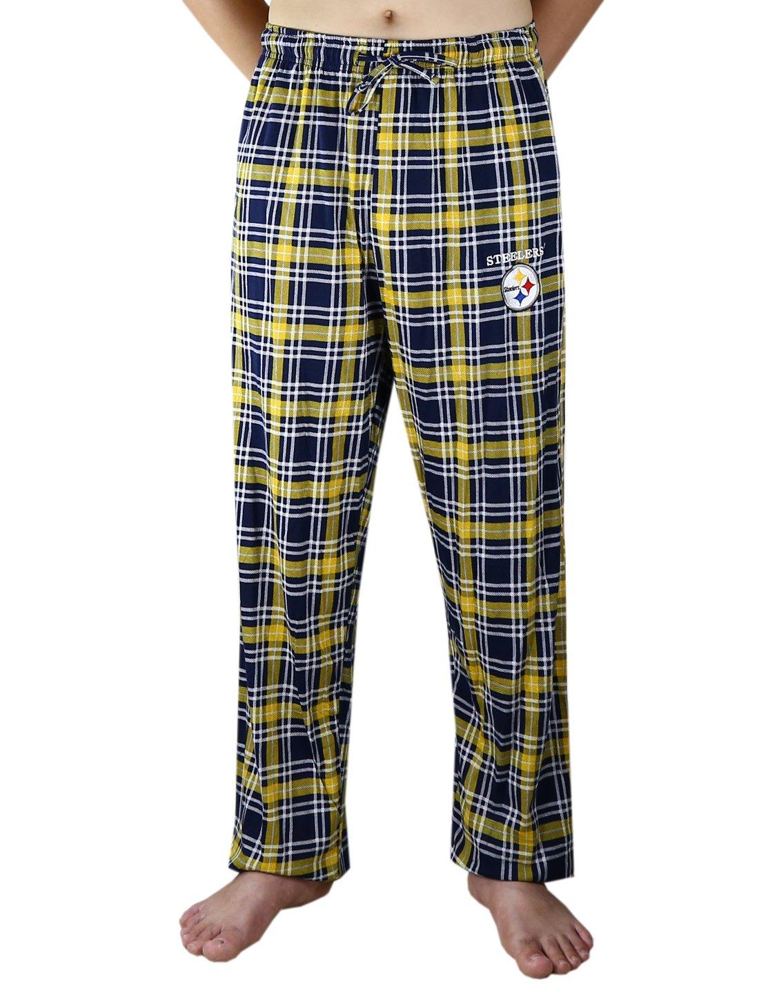 KANISA Pit Steelers Mens 100% Cotton Plaid Pajama/Sleepwear Pants - Multicolor Size M by KANISA (Image #1)