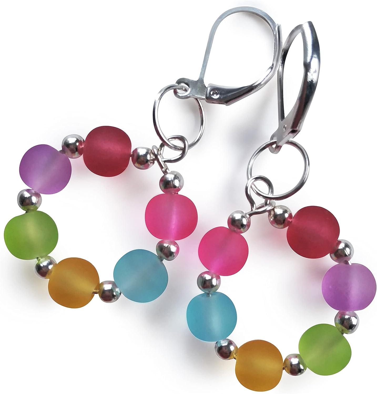 Colorful Handmade Earrings Light Weight Earrings Gift For Her Women Earrings. Round Dangled Earrings Geometric Hand Crafted Earrings