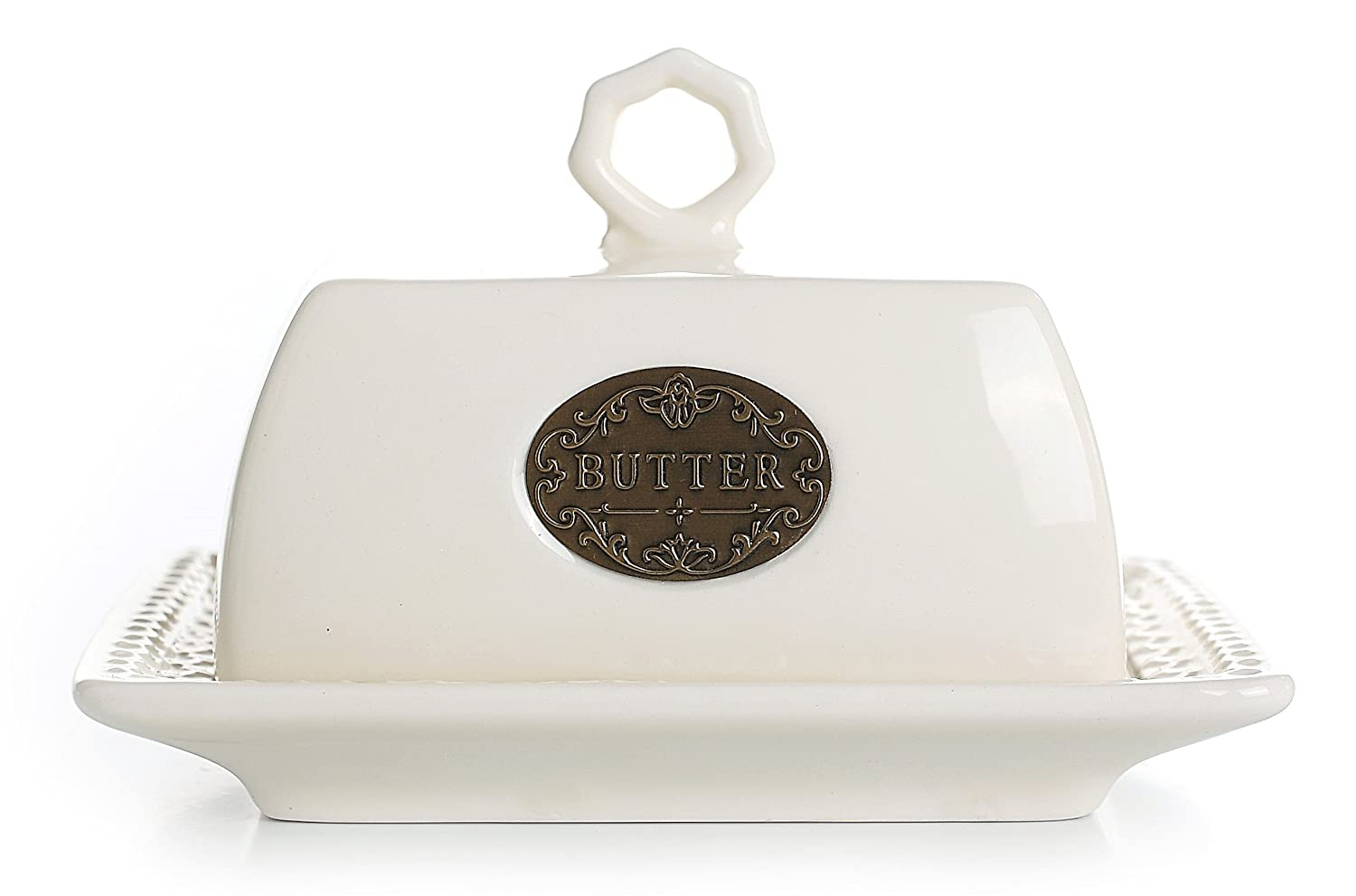 Small Ceramic Butter Dish with Lid, Vintage Home Decor Christmas Table Decorations LA JOLIE MUSE