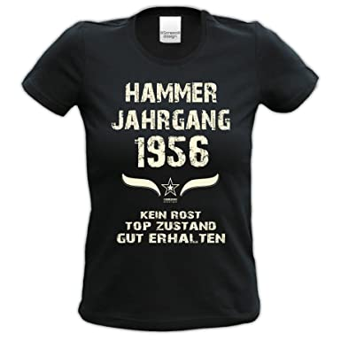 Tshirt Frauen Zum 62. Geburtstag Hammer Jahrgang 1956 Geschenkidee Mode für Damen  Farbe: Schwarz: Amazon.de: Bekleidung