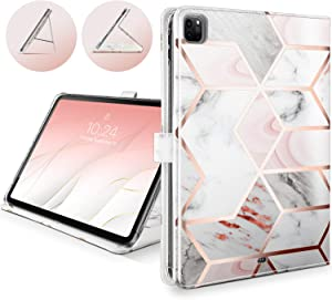 Shields Up iPad Pro 12.9 Case 4th & 3rd Generation 2020/2018- [Drop Protection] Multi-Angle Viewing Folio Leather Cover with [Card Slots] for Apple iPad Pro 12.9 inch 2020/2018 - Marble