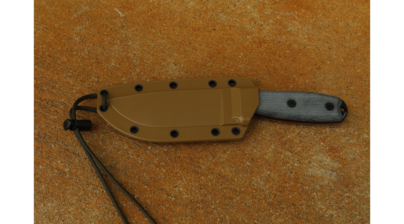 Esee Knives, ESEE-4, Sharpened Clip Point Plain Edge, Coyote Brown Sheath, Clip Plate by ESEE
