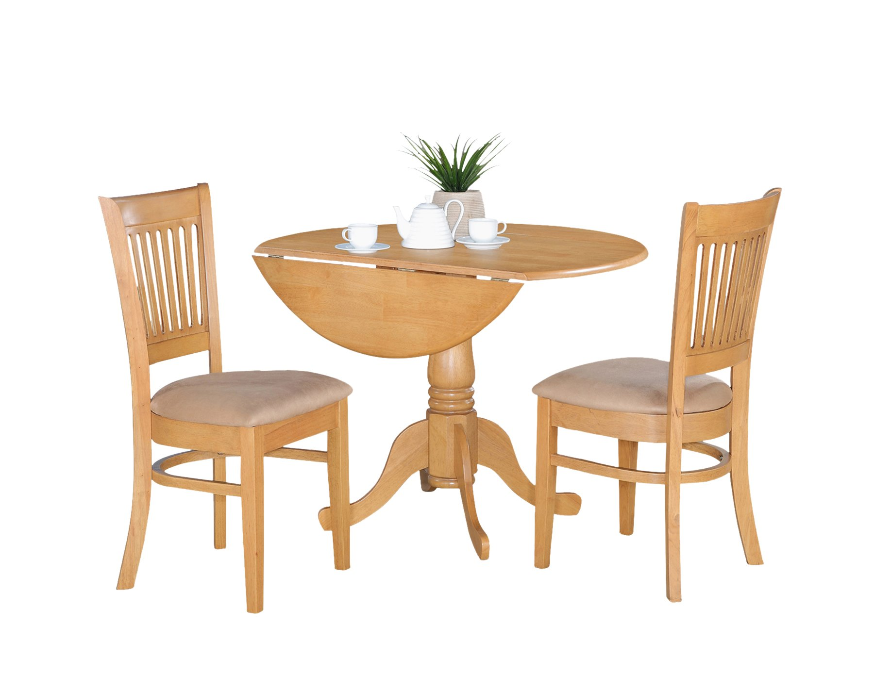 East West Furniture 3-Piece Kitchen Nook Dining Table Set, Oak Finish by East West Furniture
