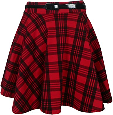 Womens New Tartan Check Printed Ladies Short Mini Slim Detachable Waist Belted Flared Pleated Skater Red Skirt