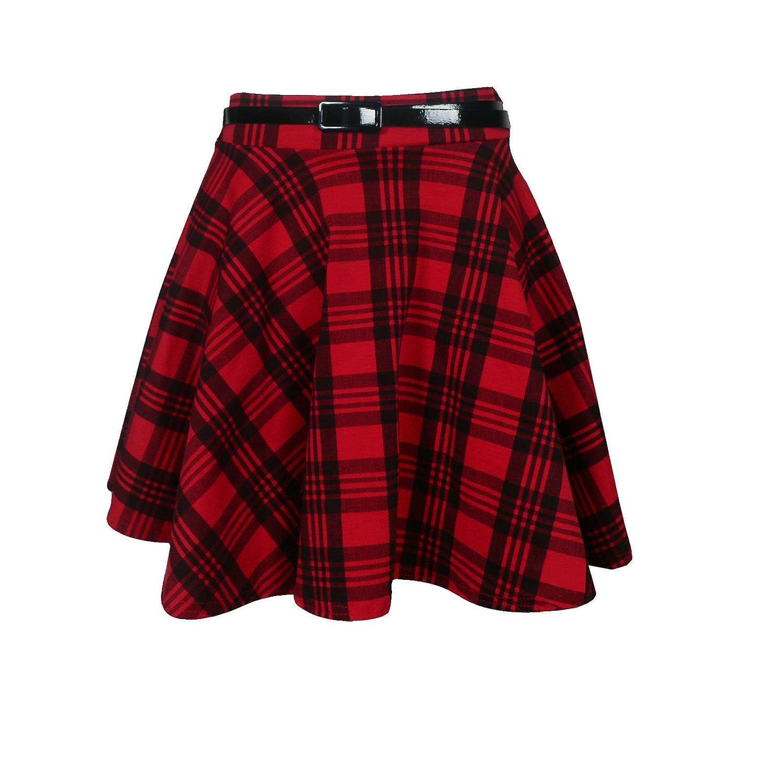 586384833afb88 femmes neuf tartan à carreaux imprimé DAMES Court Mini fin Détachable  Taille Jupe évasée ceinture patineuse plissée rouge jupe
