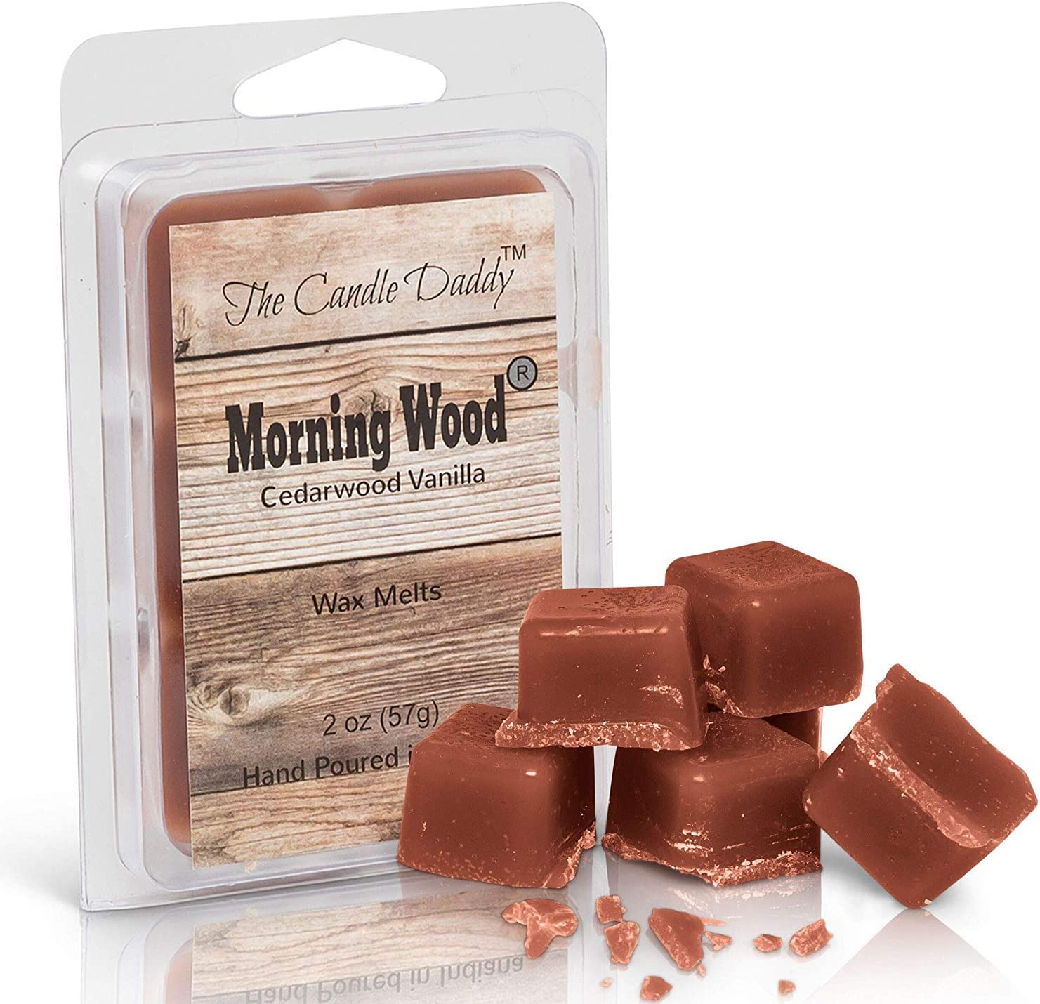 The Candle Daddy -Morning Wood- Cedarwood Vanilla Scented Wax Cubes - Maximum Scent Cedarwood Wax Melts - Candle Scent Melts- Enjoy Candle Ambience Without Flame Soot - 1 Pack - 6 Cubes- 2 oz