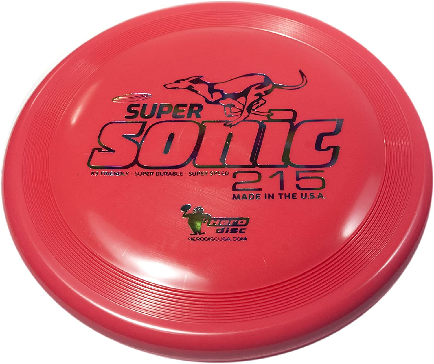 Hero SuperSonic 215 Puncture Resistant Dog Frisbee Mid Size Dog Disc US Made