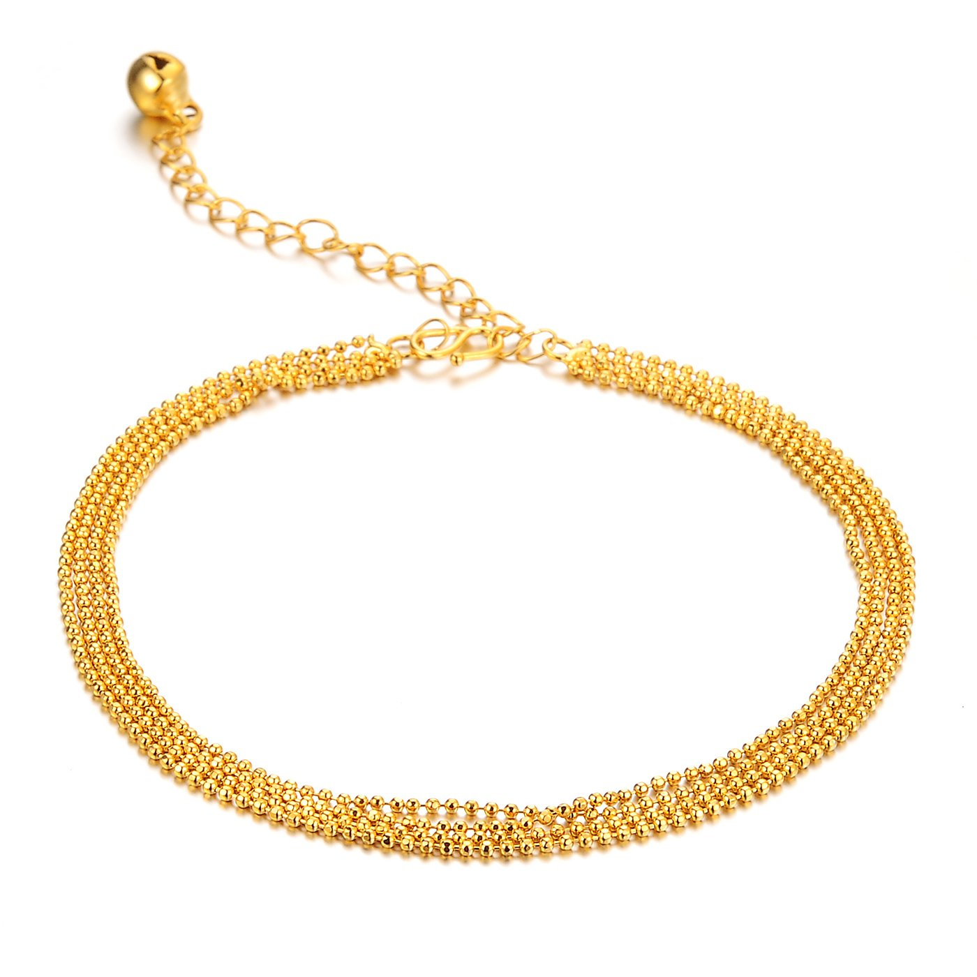 Fate Love Multilayer Bead Foot Chain Bracelet 18k Gold Plated Anklet Women Jewelry,Adjustable