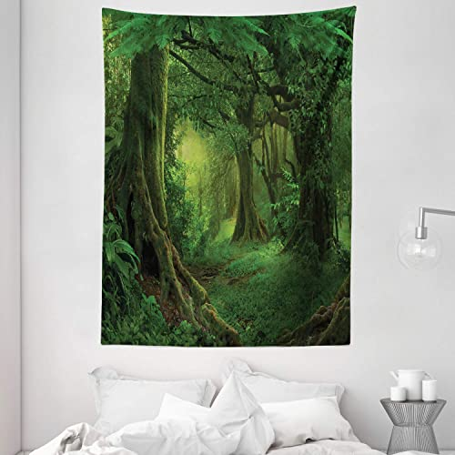 Ambesonne Forest Tapestry, Enchanted Woodland Foliage in Deep Tropical Jungle at Southeast Landscape Print, Wall Hanging for Bedroom Living Room Dorm, 60 X 80 , Grey Red
