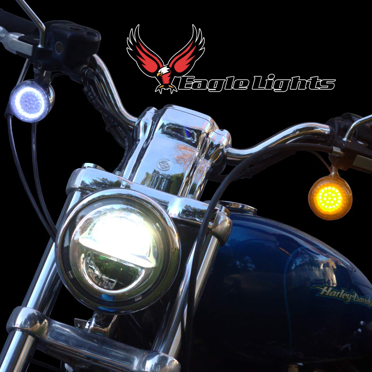 Eagle Lights 2 Led Turn Signal Kit For Harley Davidson Wiring Driving Motorcycle Including Indian Front 1157 And Rear Add Smoked Lenses Automotive