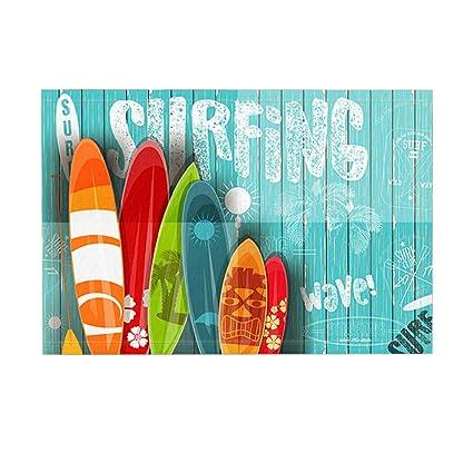 KOTOM Summer Sport Decor tapete de baño, tablas de surf con diferentes diseños y tamaños