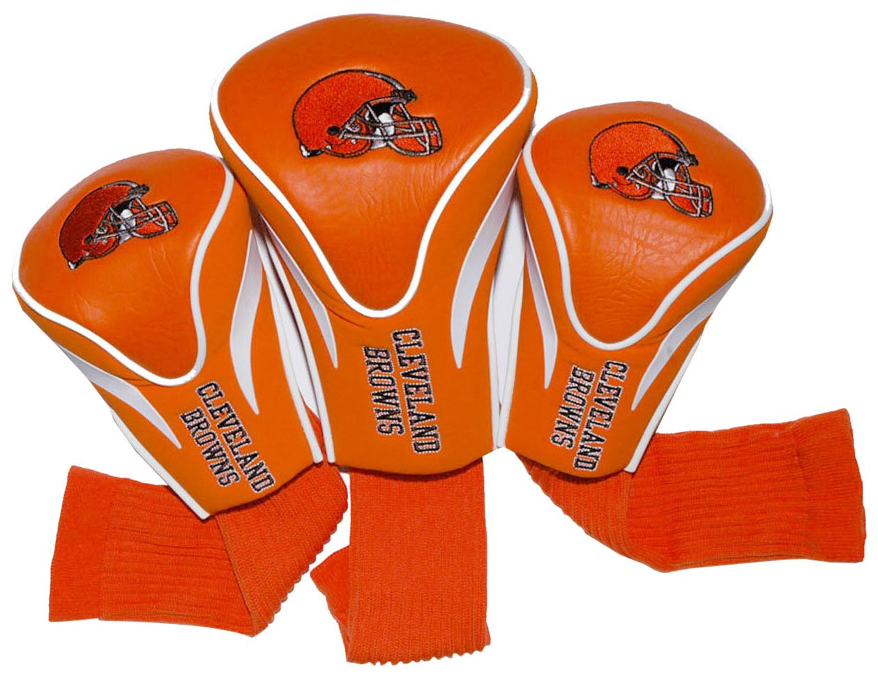 Team Golf NFL Cleveland Browns Contour Golf Club Headcovers (3 Count), Numbered 1, 3, & X, Fits Oversized Drivers, Utility, Rescue & Fairway Clubs, Velour lined for Extra Club Protection