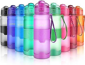 Imagen deWIN-POST Botella de Agua Deporte 500ml/700ml/1l, sin bpa tritan plastico, Reutilizables a Prueba de Fugas Botellas Potable con Filtro para niños, Colegio, Sport, Gimnasio, Trekking, Bicicleta
