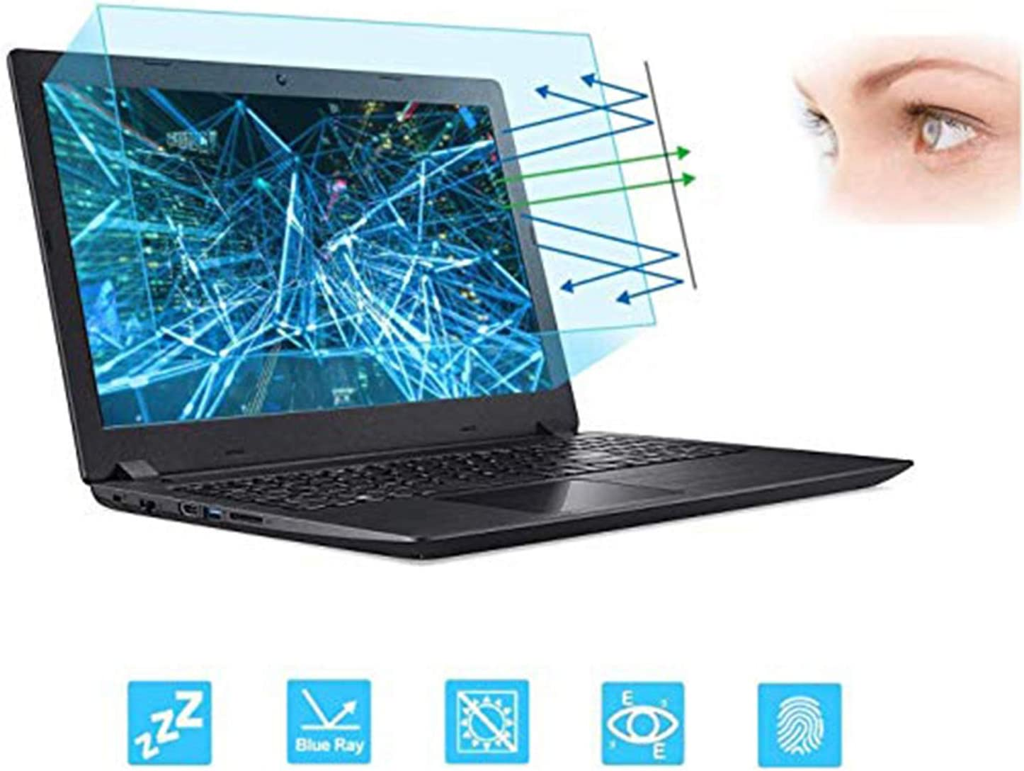 """15.6 Inch Laptop Screen Protector -Blue Light and Anti Glare Filter, FORITO Eye Protection Blue Light Blocking & Anti Glare Screen Protector for 15.6"""" with 16:9 Aspect Ratio Laptop"""