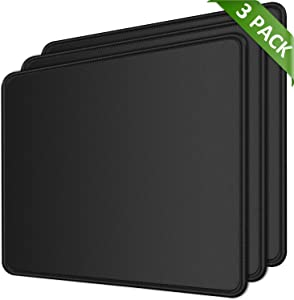 MROCO Mouse Pad Pack [30% Larger] with Non-Slip Rubber Base, Premium-Textured & Waterproof Mousepads Bulk with Stitched Edges, Mouse Pads for Computers, Laptop, Office & Home, 8.5x11 in, 3 Pack, Black