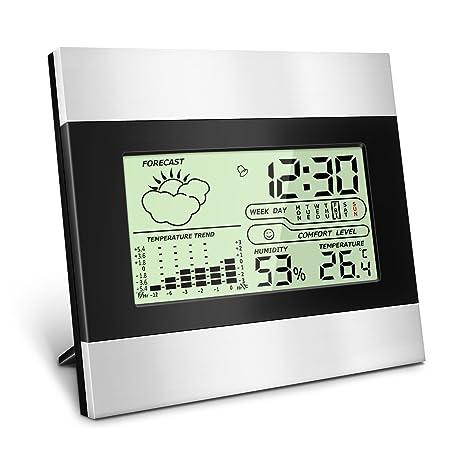 Termómetro Higrómetro Digital Interior Exterior, Medidor Temperatura y Humedad, Función de Memoria, Grabadora