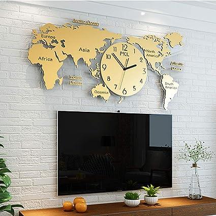 Qianggao Décoration Nordique Horloge Murale De Carte Du
