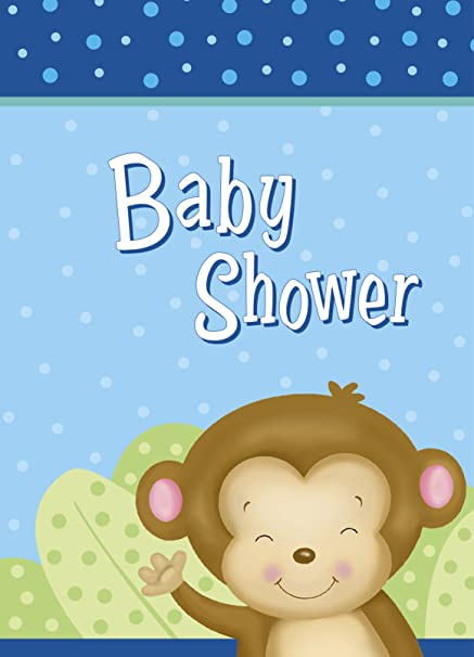 Amazoncom Boy Monkey Baby Shower Invitations 8ct Kitchen Dining