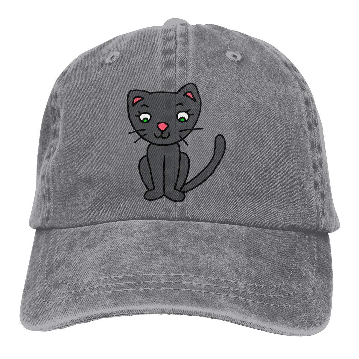 Adult Unisex Jeans Cap Adjustable Hat Cute Naughty Kitty Cat Cotton Denim