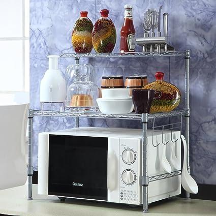 KIU Cocina rejilla del horno microondas/Almacenaje/ sazonado/Estante del almacenaje del baño