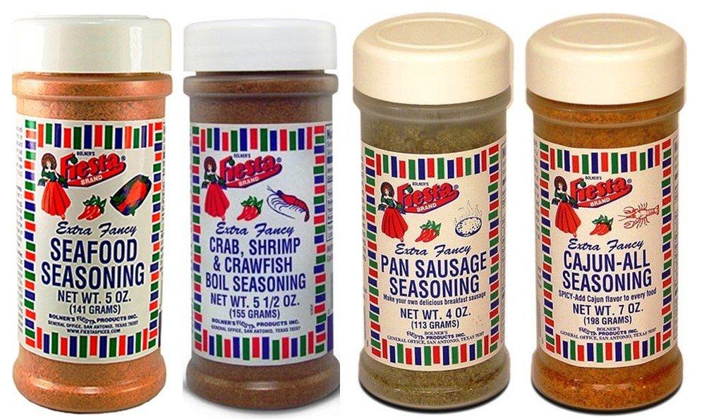 Bolner's Fiesta Cajun and Seafood Seasoning 4 Flavor Variety Bundle, (1) Each: Seafood Seasoning, Crab Shrimp & Crawfish Boil, Pan Sausage, Cajun-All Seasonng, 4-7 Oz. Ea.
