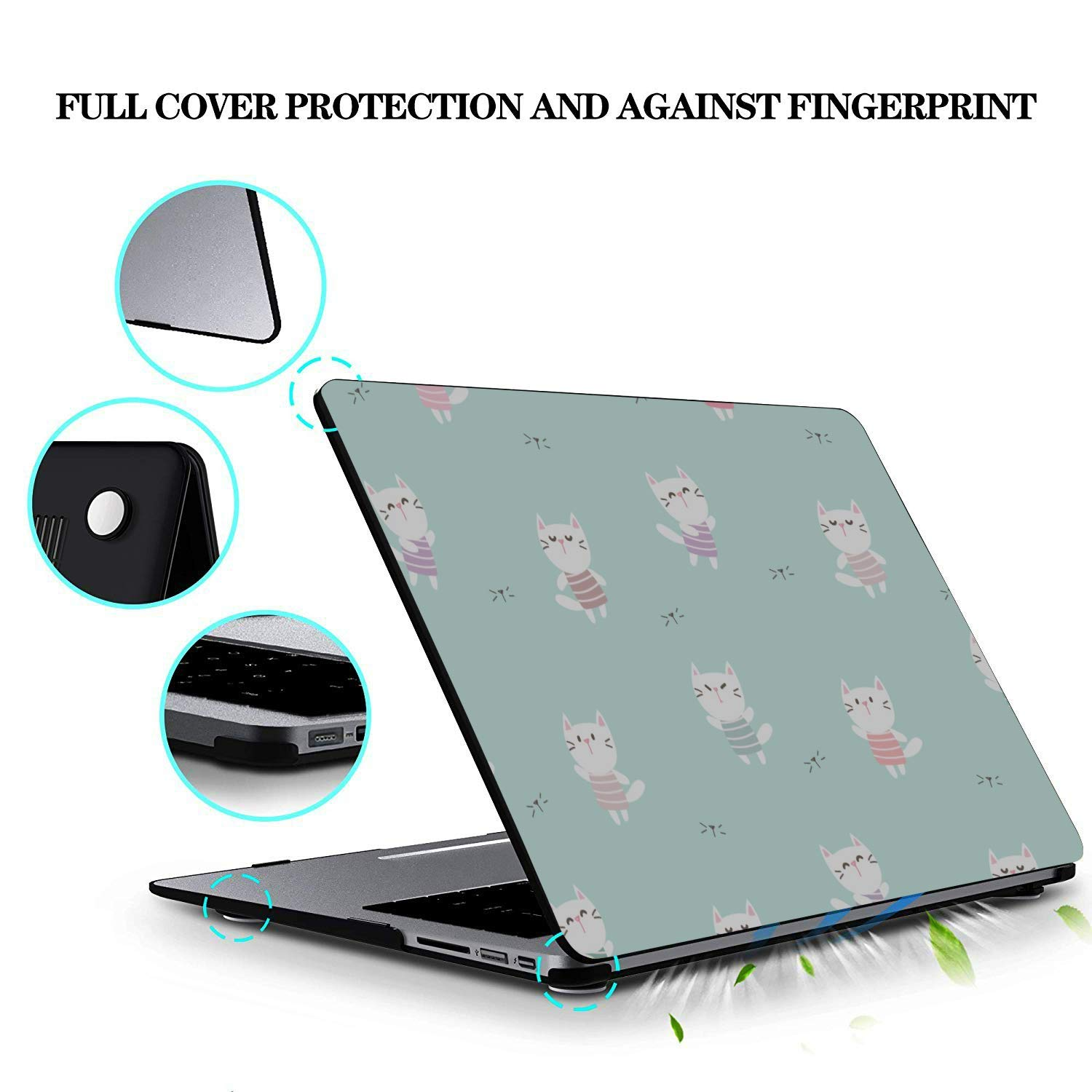 MacBook Computer Case Smart Warm Heart Gift Animal Pet Cat Plastic Hard Shell Compatible Mac Air 11 Pro 13 15 15inch MacBook Pro Case Protection for MacBook 2016-2019 Version