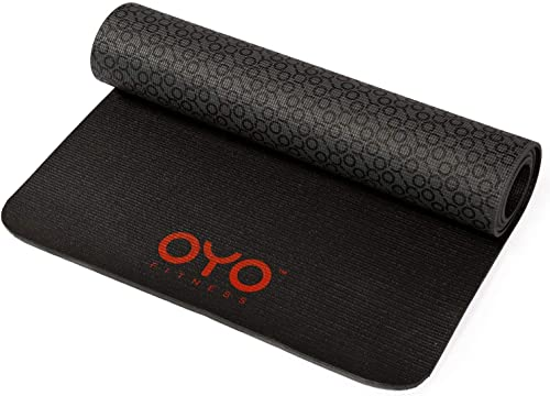 OYO Fitness Performance Exercise Mat Yoga Mat PVC, Reversible, Two-Tone Grey Black, Non-Slip, 6mm 1 4 Inch Thick