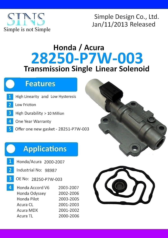 Honda Acura Transmission Single Linear Solenoid 28250-P7W-003