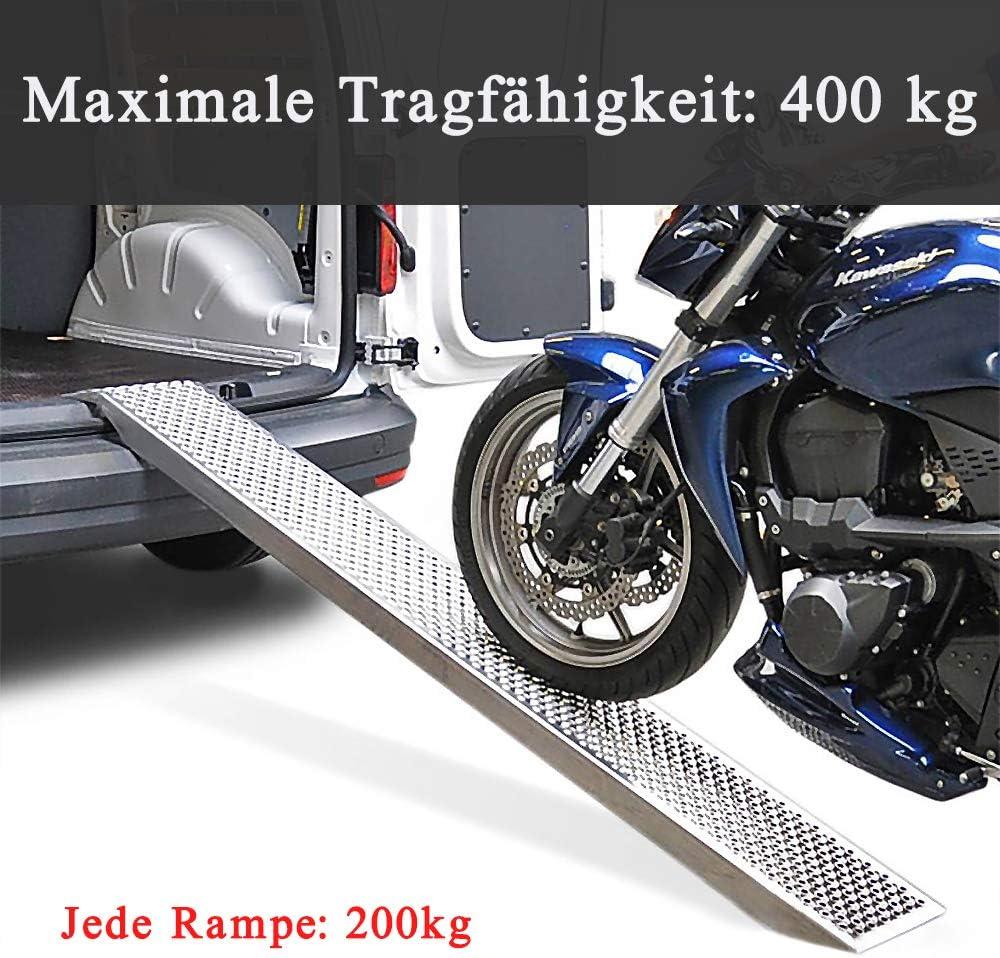 160 x 22.5 cm Antirutsch Verladerampe Laderampen f/ür Anh/änger Motorrad ATV Quad WEIERR 2 St/ück Auffahrrampe bis zu 400 kg Laderampe aus Verzinkter Stahl