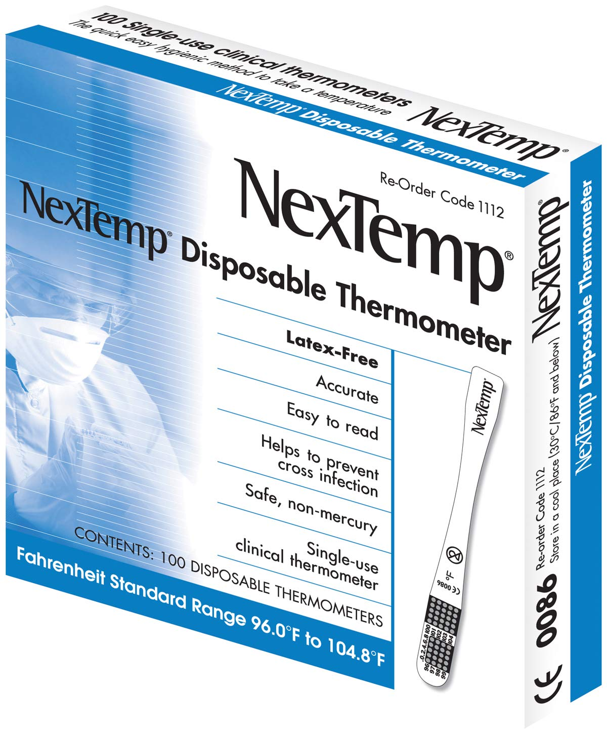 Medical Indicators Nextemp Single Use Oral/Axillary Farenheit Thermometers, Mli111220, 1 Pound