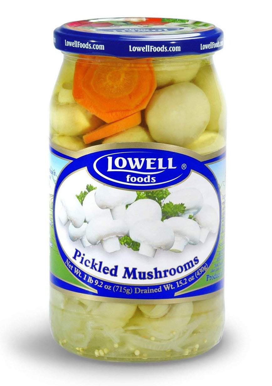 Lowell Foods Pickled Mushrooms, 3 - 1 lb 9.2 oz Jar