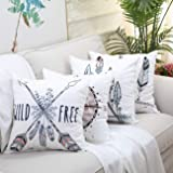 GALMAXS7 Boho Feathers Arrows Grunge Compass Throw Pillow Cover Cushion Couch Cover Ethnic Arrows Feathers American…