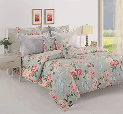 Swayam 160 TC Floral Print Cotton Fitted Double Bed Sheet with 2 Pillow Cover (12020-DFT)- Grey, Peach