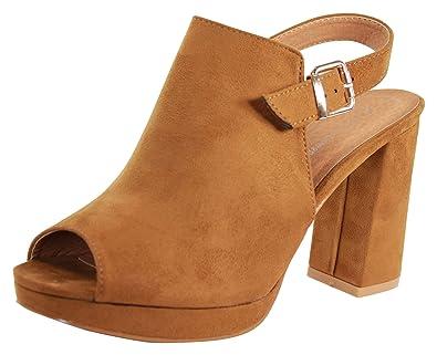e75348b9630 Larena Fashion New Womens High Block Heel Sandals Peep Toe Platform Buckle Ankle  Strap Shoes