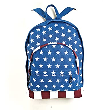 Patriotic American Flag Printed Canvas Cotton Backpack