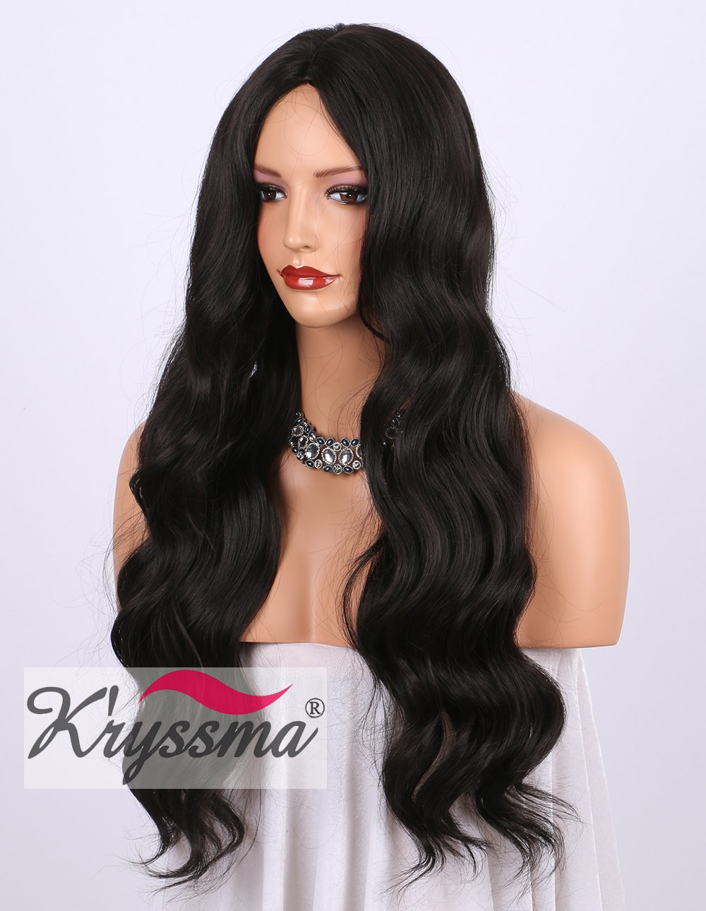 K'ryssma Dark Brown Synthetic Wigs for Women - Natural Looking Brown #2 Middle Part Wavy Long Hair Wig Heat Resistant (24inches)