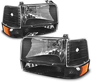 For 92-96 Ford Bronco F150 F250 F350 OE Replacement Black Headlights Corner Signal Left/Right Lamps Set