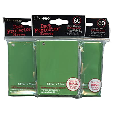Ultra Pro Card Supplies YuGiOh Sized Deck Protector Sleeves Green 60 Count X3: Toys & Games