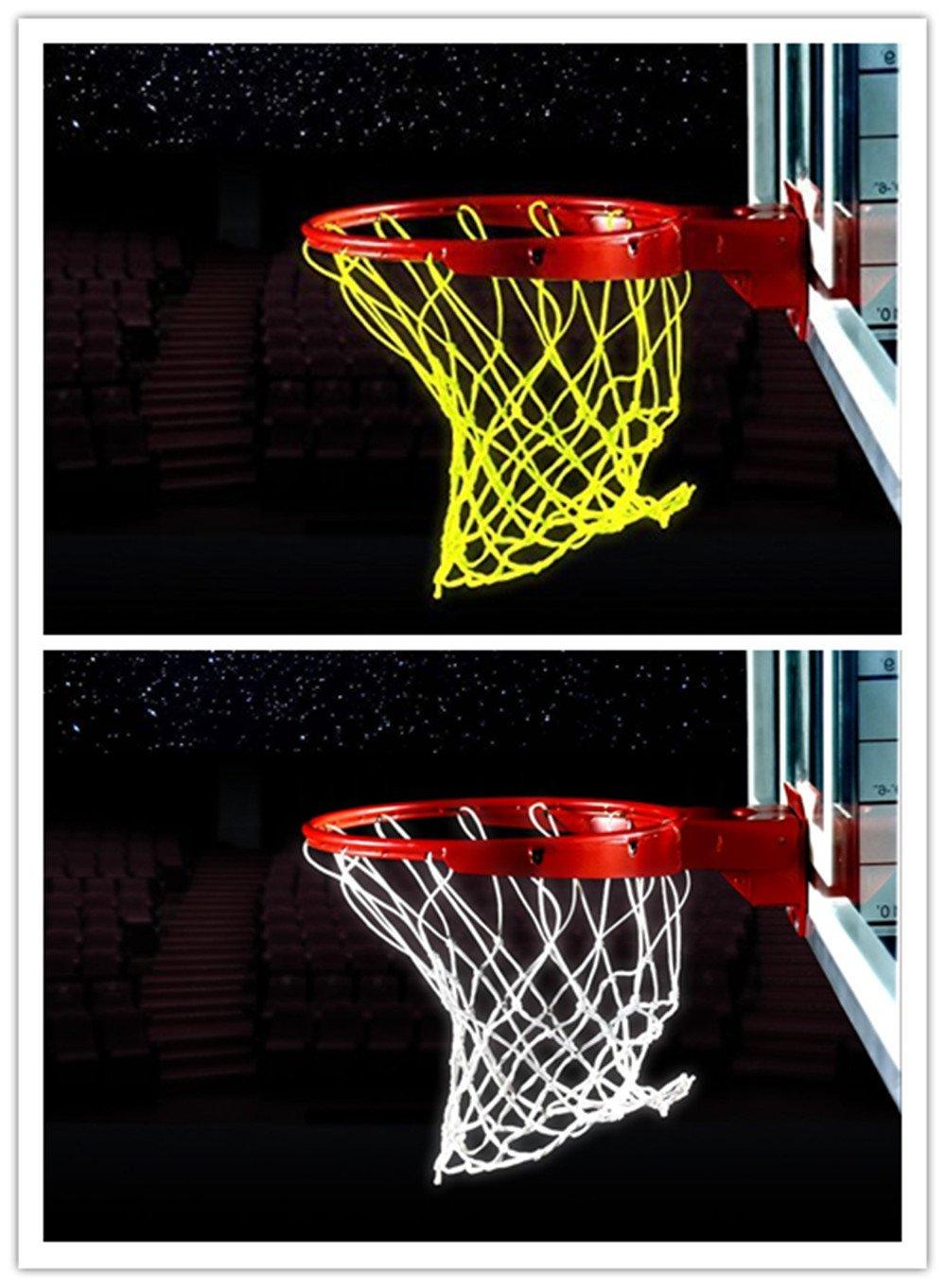 Bomach 2/St/ück Basketball Net Glow in The Dark Basketballkorb Net Professional Heavy Duty Innen-Basketball Sports Luminous Rand Net Ersatz f/ür Allwetter Wei/ß und Gr/ün