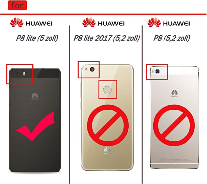 ykooe Funda para Huawei P8 Lite Doble Capa Híbrida Teléfono Funda ...