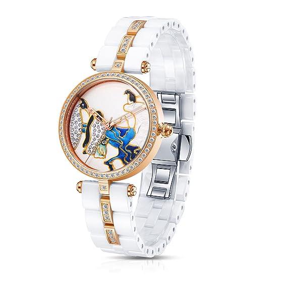 184c32393471 Time100 Lujo Mujeres Joyería de diamante Correa de cerámica reloj de cuarzo  mujer con pájaro  Time100 Watch  Amazon.es  Relojes