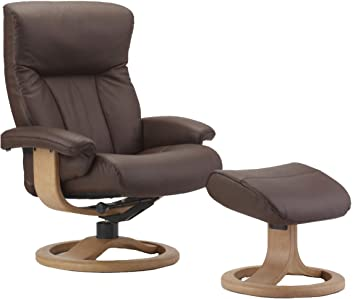 Fjords Scandic Leather Recliner And Ottoman   Norwegian Ergonomic  Scandinavian Reclining Chair In Cacao Soft Line