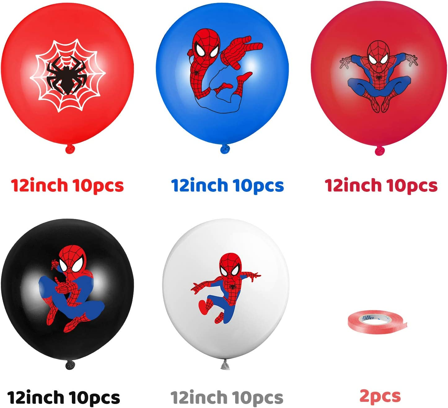 12Inch Blue Red Black Latex Balloons Bouquet with Ribbons PANTIDE ...