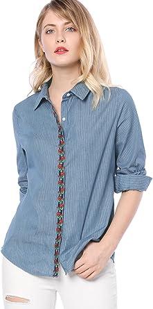 Allegra K Camisa De Cambray para Mujer Apliques Bordados Florales Botón A Rayas: Amazon.es: Ropa y accesorios