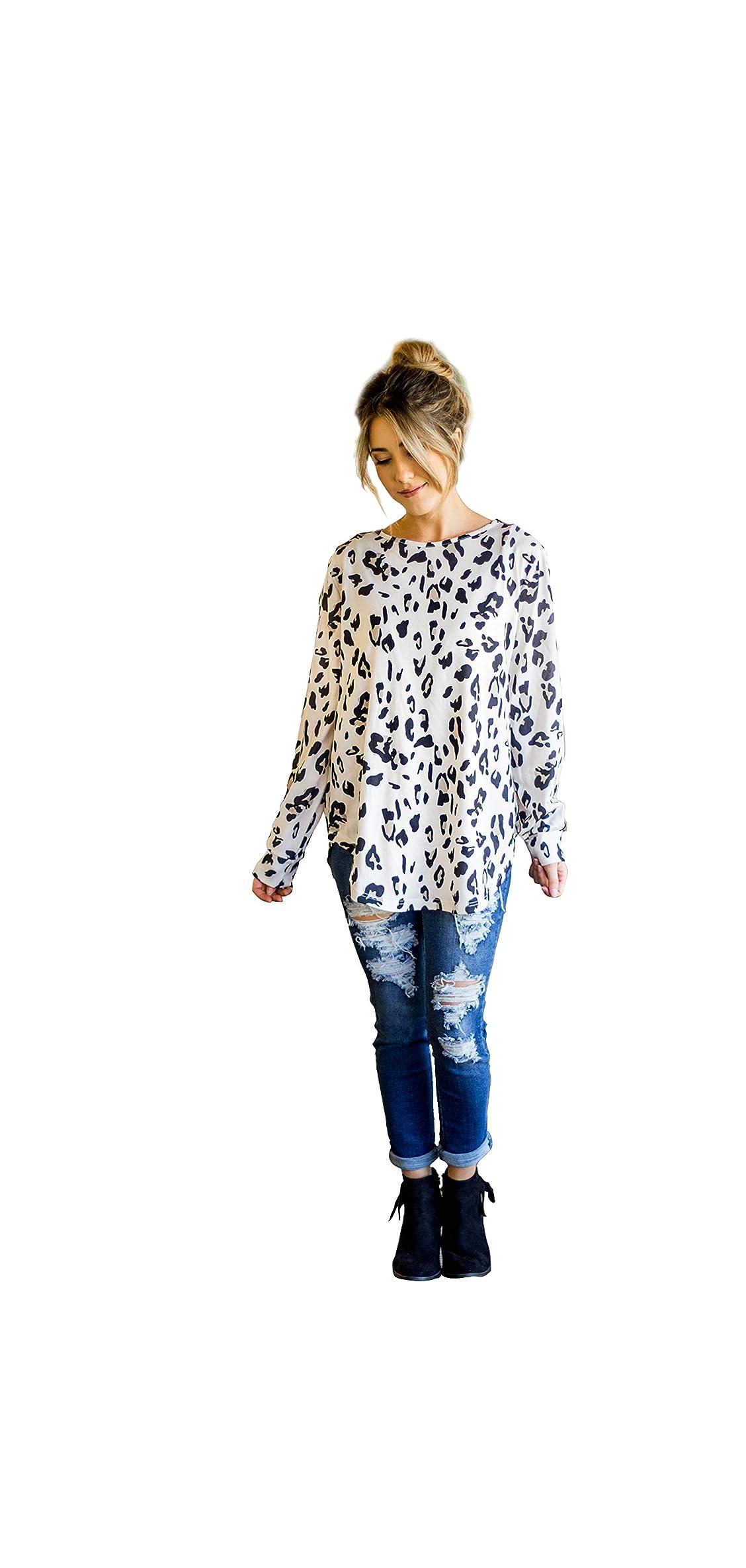 Women's Long Sleeve Leopard Knit Casual Loose