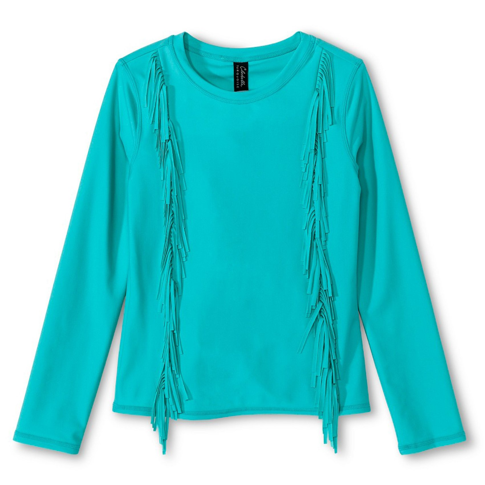 Cleobella Turquoise Wild Flower Girls' Long Sleeve Rash Guard (Medium, SEAGLASS)
