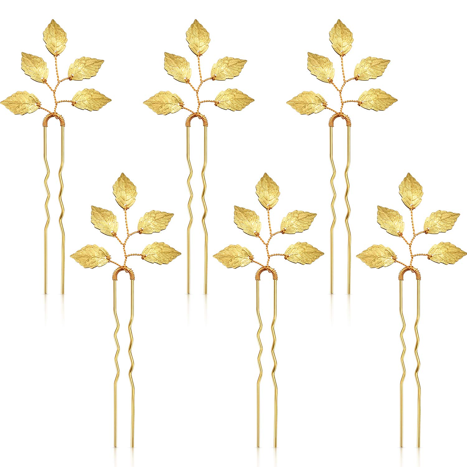 6 Packs Bride Gold Leaf Hair Pins, Vintage Leaves Hair Clip for Wedding Hair Pins, Bride and Bridesmaid Hairstyle Accessories by WILLBOND
