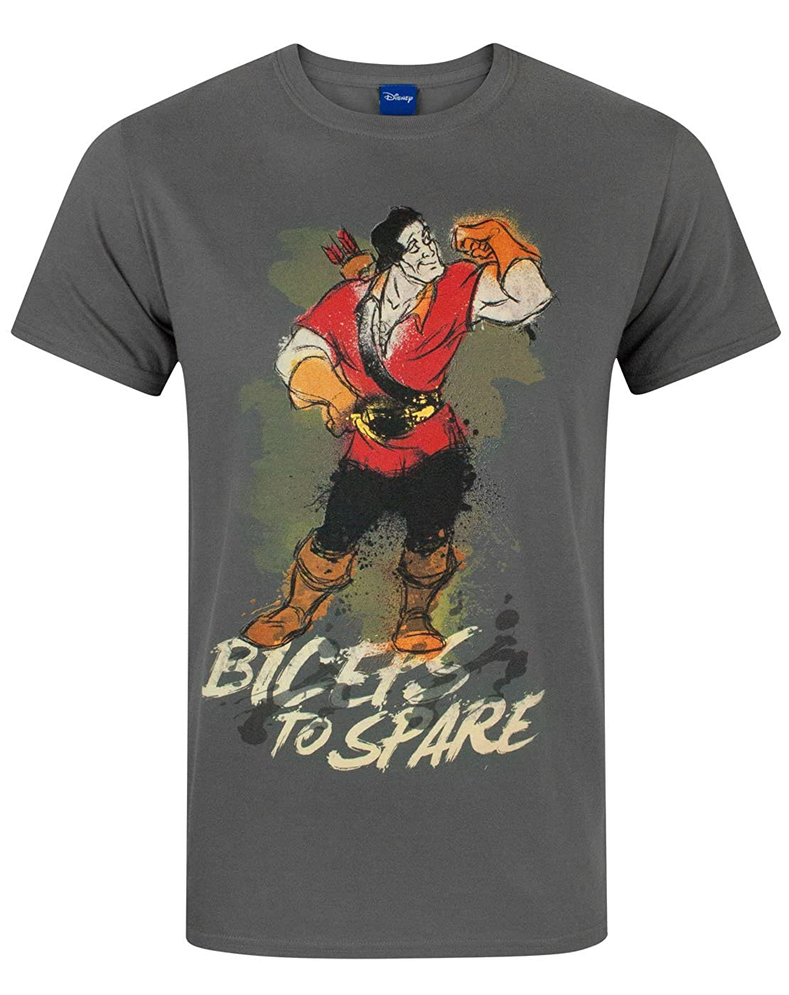0bae80eb1d6 Amazon.com  Disney Beauty and The Beast Gaston Men s T-Shirt Charcoal   Clothing