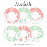 Modish Labels Baby Nursery Closet Dividers, Closet Organizers, Nursery Decor, Baby Girl, Woodland, Tribal, Woodland Animals, Bear, Fox, Deer, (Pink/Mint)