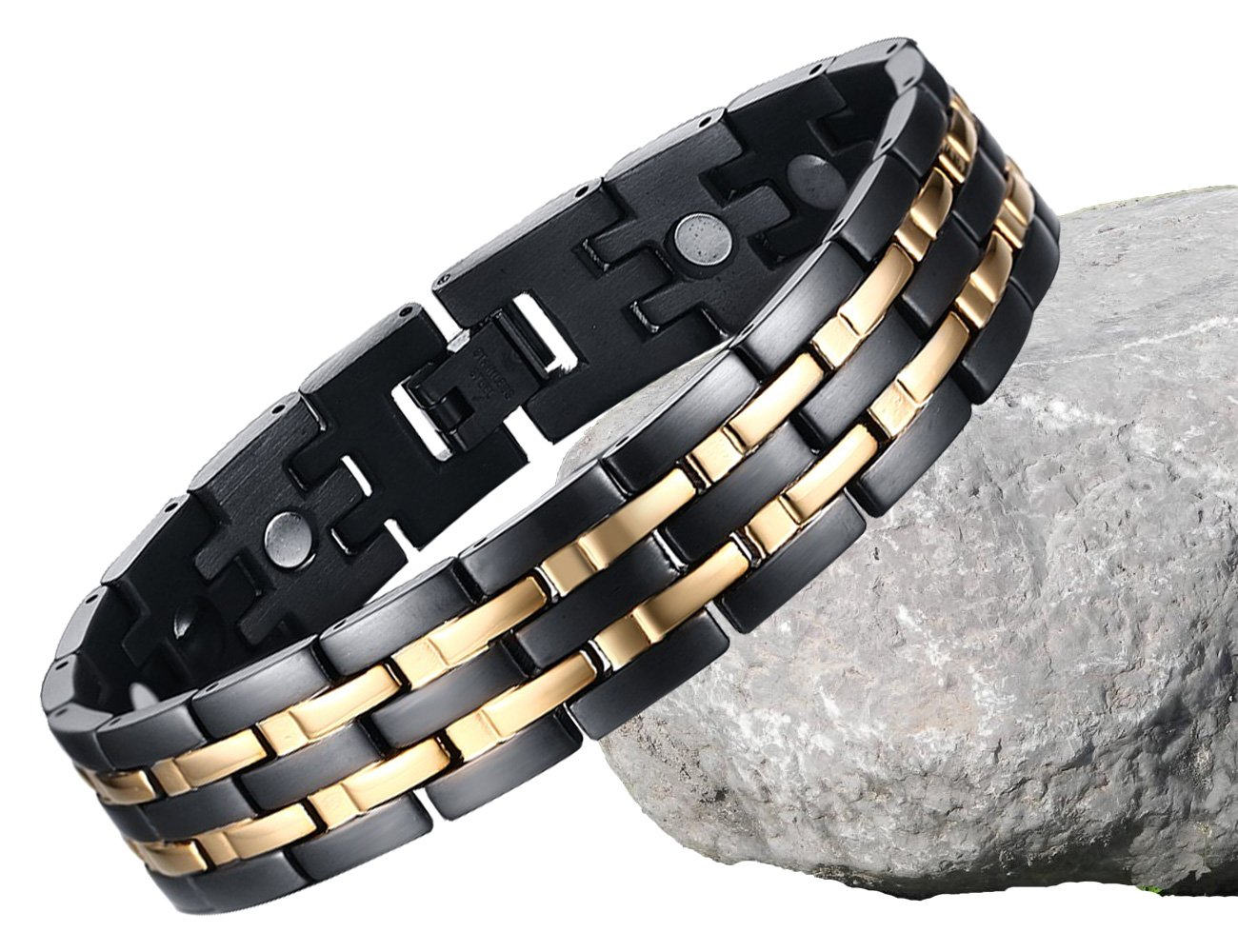 BisLinks® Titanium Magnetic Health Bracelet For Men & Women Germanium Stone Arthritis Chronic Pain Bio Therapy Carpal Tunnel Relief Negative Ion (3000 Gauss Each Magnet) + FREE LINK REMOVAL TOOL by BisLinks® (Image #3)